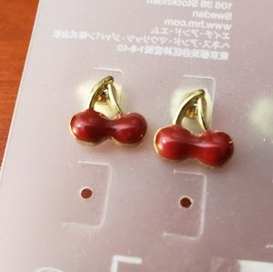 Cherry stud earrings with gold stems
